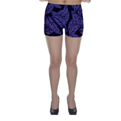 Tropical Leaves Purple Skinny Shorts