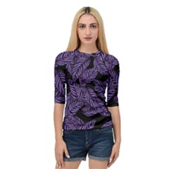Tropical Leaves Purple Quarter Sleeve Raglan Tee
