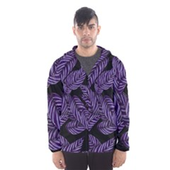 Tropical Leaves Purple Hooded Windbreaker (men)