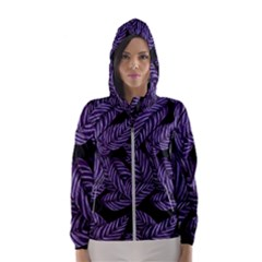 Tropical Leaves Purple Hooded Windbreaker (women)