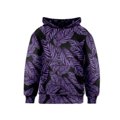 Tropical Leaves Purple Kids  Pullover Hoodie