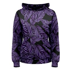 Tropical Leaves Purple Women s Pullover Hoodie