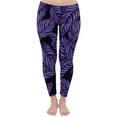 Tropical Leaves Purple Classic Winter Leggings