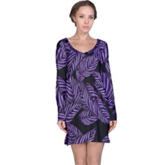 Tropical Leaves Purple Long Sleeve Nightdress