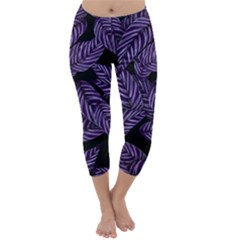 Tropical Leaves Purple Capri Winter Leggings