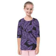 Tropical Leaves Purple Kids  Quarter Sleeve Raglan Tee