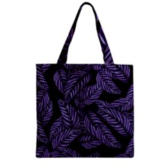 Tropical Leaves Purple Zipper Grocery Tote Bag