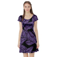 Tropical Leaves Purple Short Sleeve Skater Dress