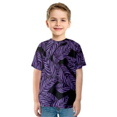 Tropical Leaves Purple Kids  Sport Mesh Tee
