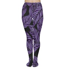 Tropical Leaves Purple Tights