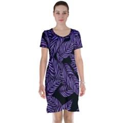 Tropical Leaves Purple Short Sleeve Nightdress