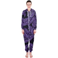 Tropical Leaves Purple Hooded Jumpsuit (ladies)