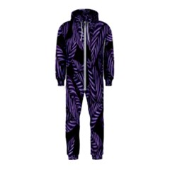 Tropical Leaves Purple Hooded Jumpsuit (kids)