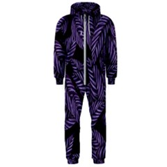 Tropical Leaves Purple Hooded Jumpsuit (men)