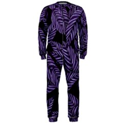 Tropical Leaves Purple Onepiece Jumpsuit (men)