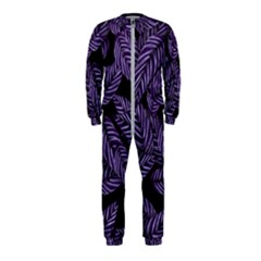 Tropical Leaves Purple Onepiece Jumpsuit (kids)