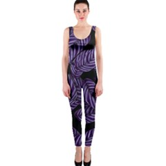 Tropical Leaves Purple One Piece Catsuit