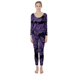 Tropical Leaves Purple Long Sleeve Catsuit