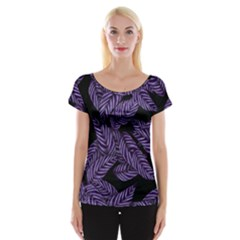 Tropical Leaves Purple Cap Sleeve Top