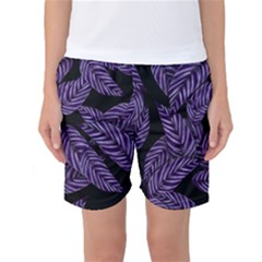 Tropical Leaves Purple Women s Basketball Shorts