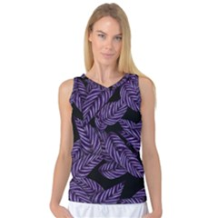 Tropical Leaves Purple Women s Basketball Tank Top