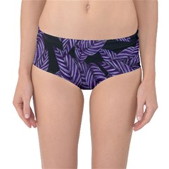 Tropical Leaves Purple Mid Waist Bikini Bottoms