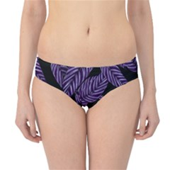 Tropical Leaves Purple Hipster Bikini Bottoms