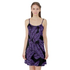 Tropical Leaves Purple Satin Night Slip