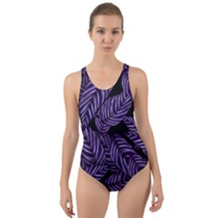Tropical Leaves Purple Cut Out Back One Piece Swimsuit