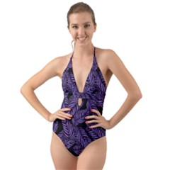 Tropical Leaves Purple Halter Cut Out One Piece Swimsuit