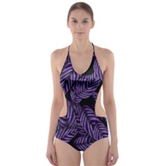 Tropical Leaves Purple Cut Out One Piece Swimsuit