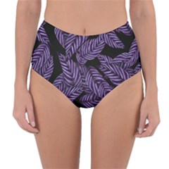 Tropical Leaves Purple Reversible High Waist Bikini Bottoms