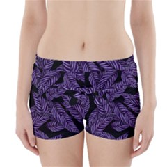 Tropical Leaves Purple Boyleg Bikini Wrap Bottoms