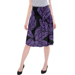 Tropical Leaves Purple Midi Beach Skirt