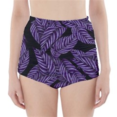 Tropical Leaves Purple High Waisted Bikini Bottoms