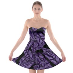 Tropical Leaves Purple Strapless Bra Top Dress