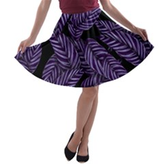 Tropical Leaves Purple A Line Skater Skirt
