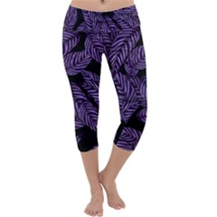Tropical Leaves Purple Capri Yoga Leggings