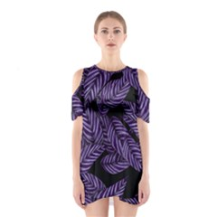 Tropical Leaves Purple Shoulder Cutout One Piece Dress