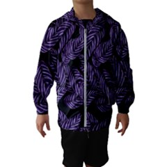 Tropical Leaves Purple Hooded Windbreaker (kids)