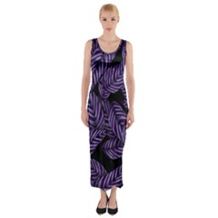 Tropical Leaves Purple Fitted Maxi Dress