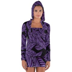 Tropical Leaves Purple Long Sleeve Hooded T Shirt