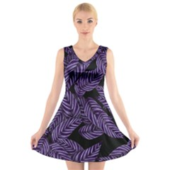 Tropical Leaves Purple V Neck Sleeveless Dress