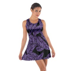 Tropical Leaves Purple Cotton Racerback Dress
