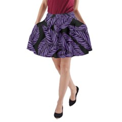 Tropical Leaves Purple A Line Pocket Skirt