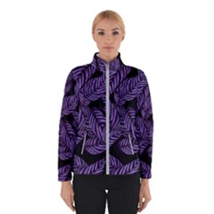 Tropical Leaves Purple Winter Jacket