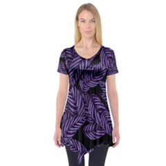 Tropical Leaves Purple Short Sleeve Tunic