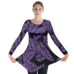 Tropical Leaves Purple Long Sleeve Tunic