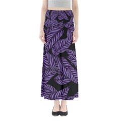 Tropical Leaves Purple Full Length Maxi Skirt