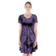Tropical Leaves Purple Short Sleeve V Neck Flare Dress
